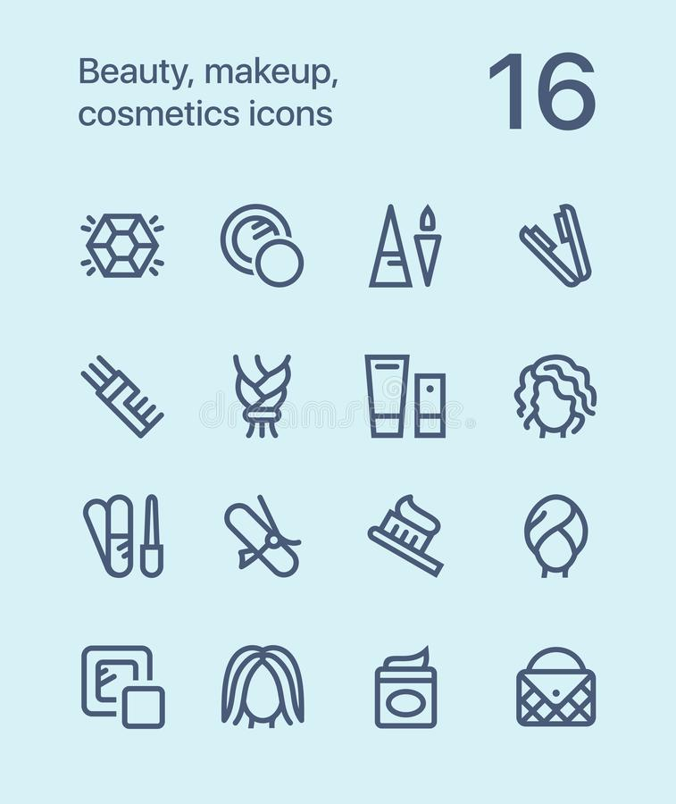 Outline Beauty, cosmetics, makeup icons for web and mobile design pack 4. 16 outline flat vector icons