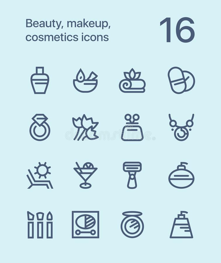 Outline Beauty, cosmetics, makeup icons for web and mobile design pack 3. 16 outline flat vector icons