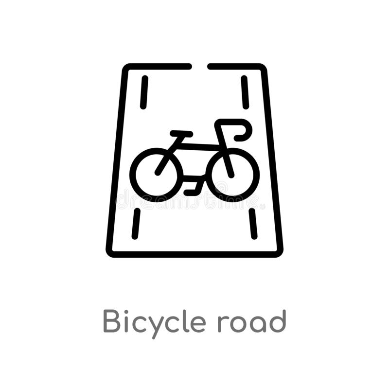 outline bicycle road vector icon. isolated black simple line element illustration from transport concept. editable vector stroke vector illustration
