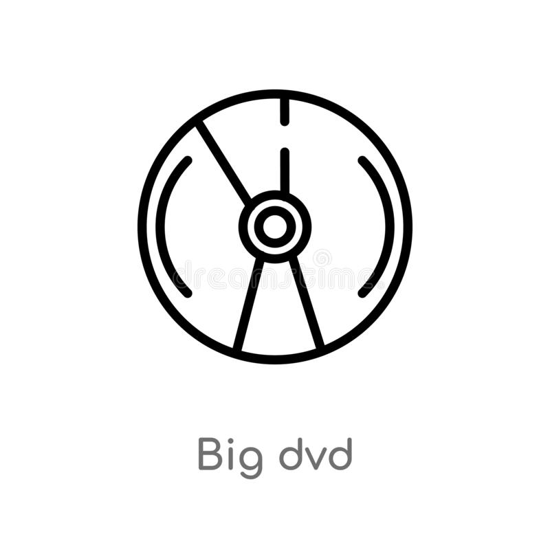 Outline big dvd vector icon. isolated black simple line element illustration from logo concept. editable vector stroke big dvd. Icon on white background vector illustration