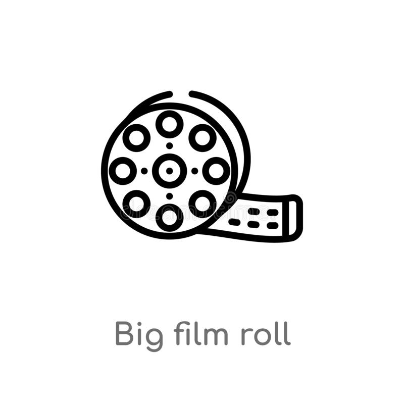 outline big film roll vector icon. isolated black simple line element illustration from cinema concept. editable vector stroke big stock illustration