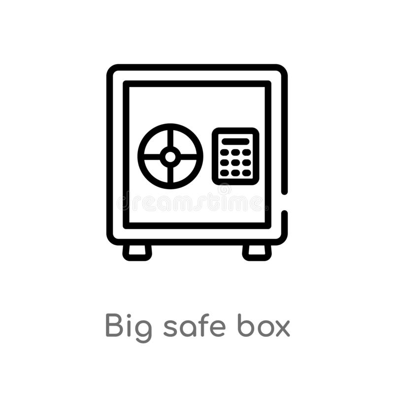 outline big safe box vector icon. isolated black simple line element illustration from airport terminal concept. editable vector royalty free illustration