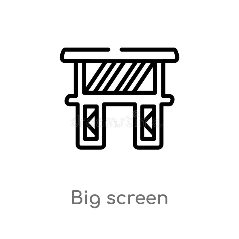 Outline big screen vector icon. isolated black simple line element illustration from music and multimedia concept. editable vector. Stroke big screen icon on royalty free illustration
