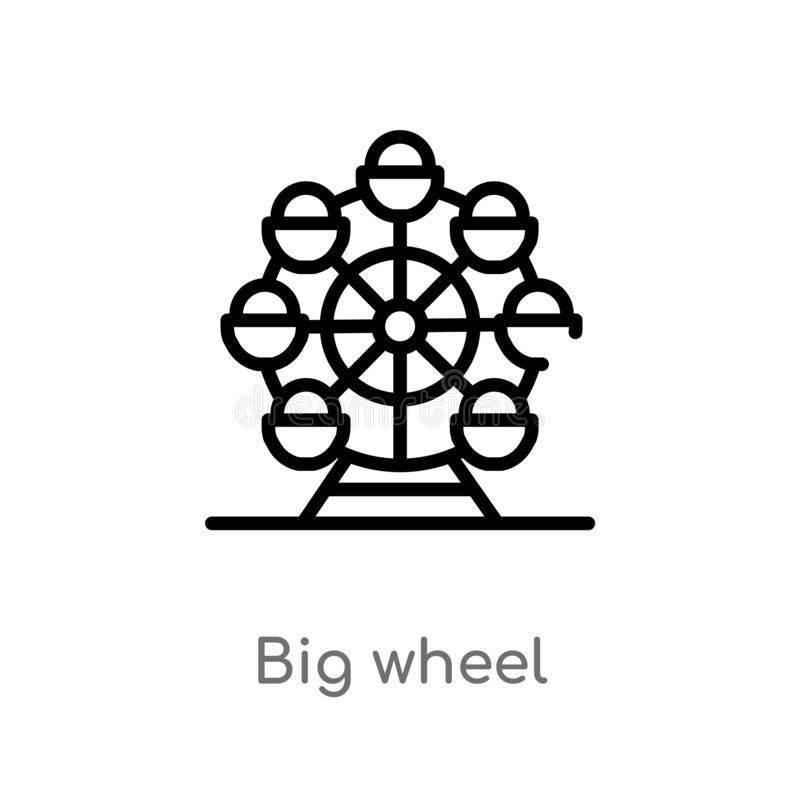 outline big wheel vector icon. isolated black simple line element illustration from business concept. editable vector stroke big stock illustration