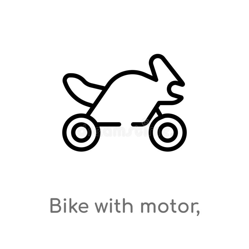 Outline bike with motor, ios 7 interface vector icon. isolated black simple line element illustration from transport concept. Editable vector stroke bike with vector illustration
