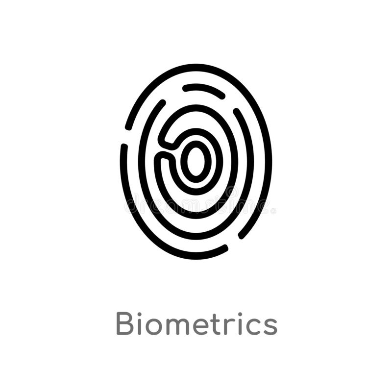 Outline biometrics vector icon. isolated black simple line element illustration from artificial intellegence concept. editable. Vector stroke biometrics icon on stock illustration