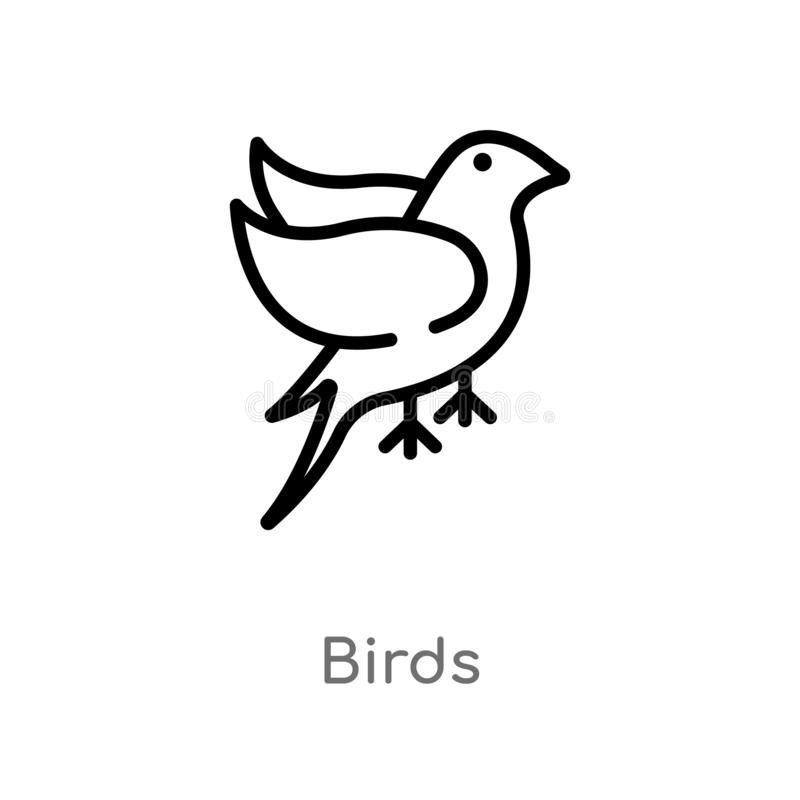 Outline birds vector icon. isolated black simple line element illustration from logo concept. editable vector stroke birds icon on. White background royalty free illustration