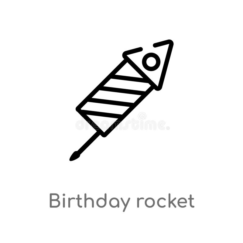 outline birthday rocket vector icon. isolated black simple line element illustration from birthday party and wedding concept. stock illustration
