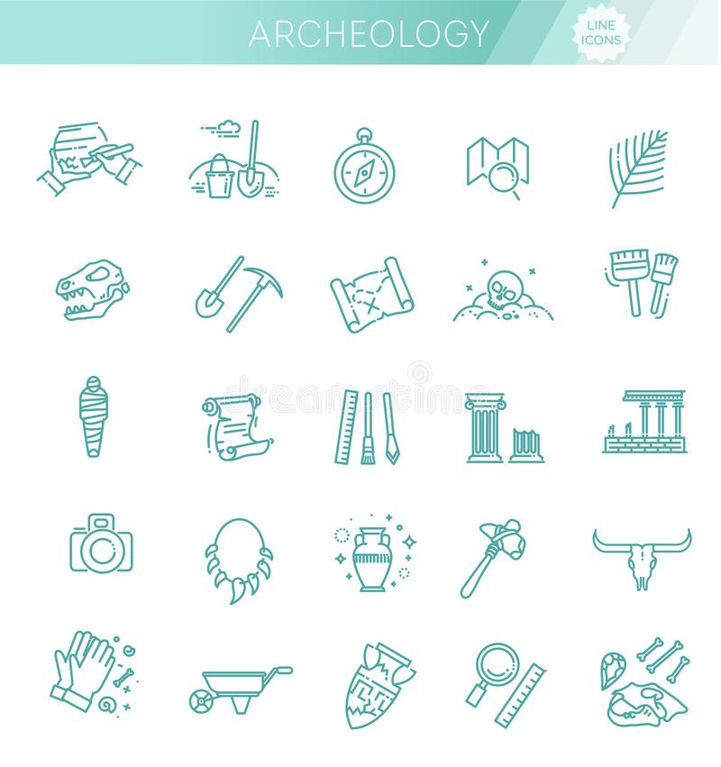 Archeology line icons set. Vector symbols. Archeology collection. Outline black icons set in thin modern design style, flat line stroke vector symbols vector illustration