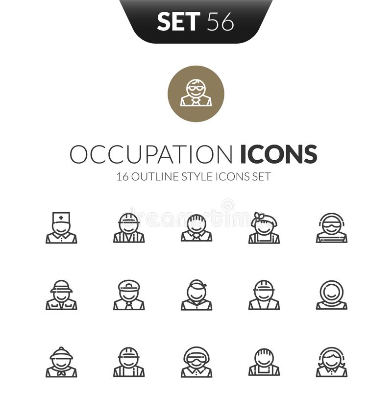 Outline black icons set in thin modern design style vector illustration