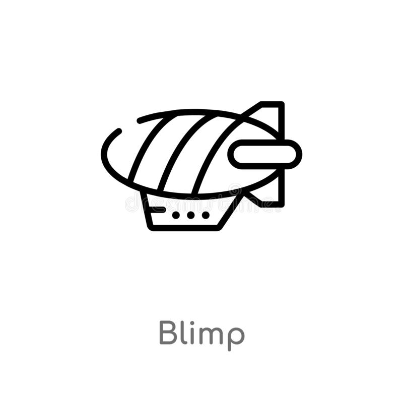Outline blimp vector icon. isolated black simple line element illustration from transport concept. editable vector stroke blimp. Icon on white background vector illustration