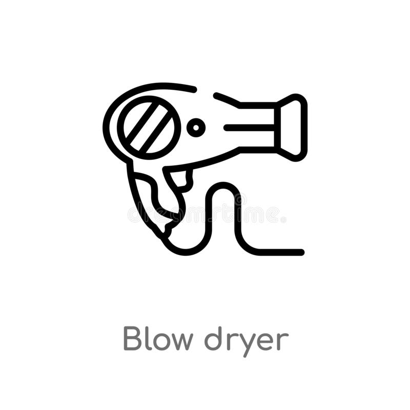 Outline blow dryer vector icon. isolated black simple line element illustration from electronic devices concept. editable vector. Stroke blow dryer icon on vector illustration