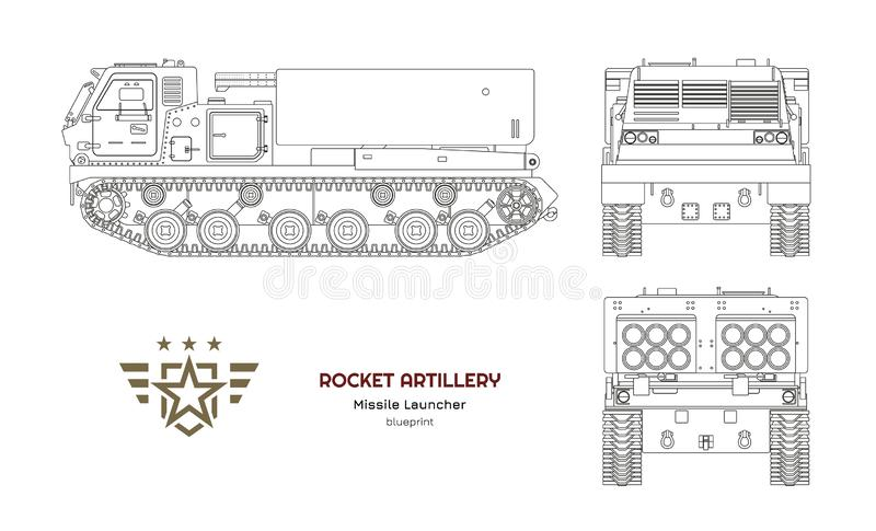 Outline blueprint of missile vehicle. Rocket artillery. Side, front and back view. Drawing of military tractor. With jet weapon. Camouflage tank. Vector vector illustration