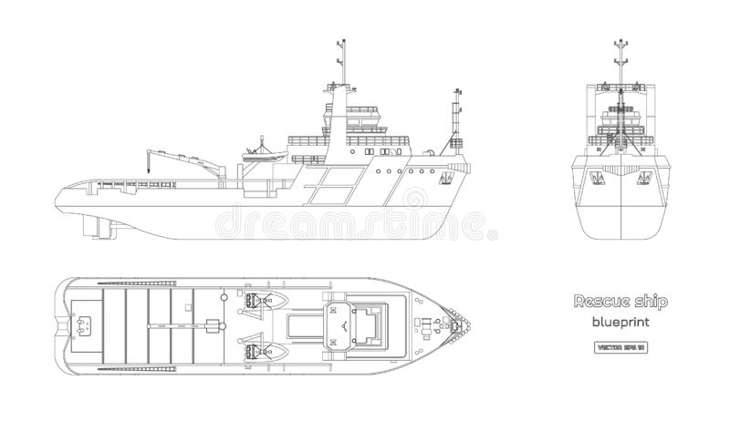 Outline blueprint of rescue ship on white background. Top, side and front view. Industry drawing. Isolated image of boat royalty free illustration