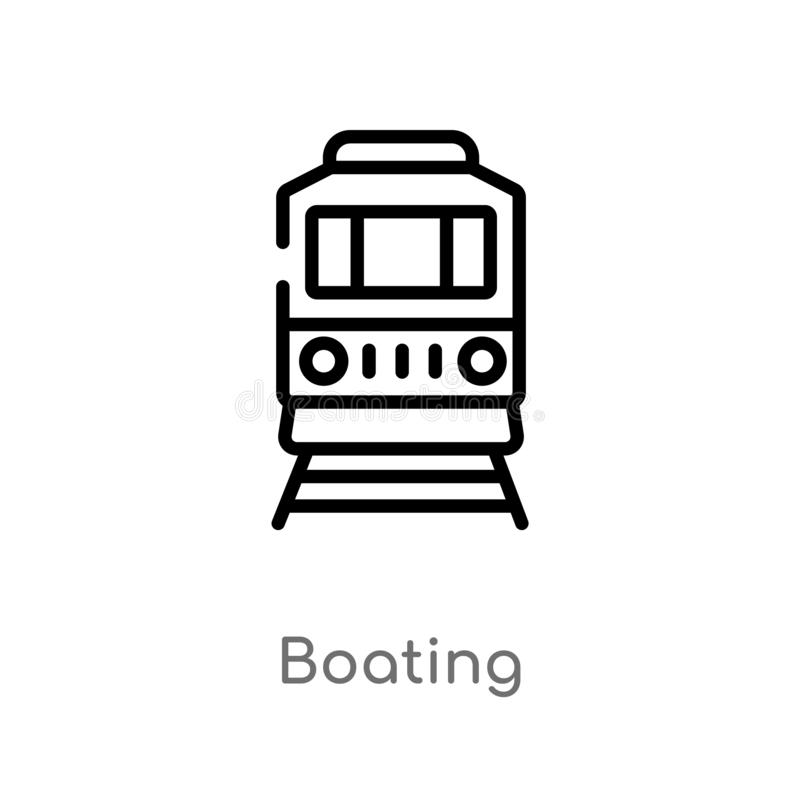 Outline boating vector icon. isolated black simple line element illustration from transport concept. editable vector stroke. Boating icon on white background stock illustration