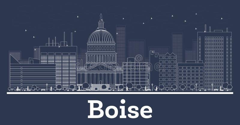 Outline Boise Idaho City Skyline with White Buildings vector illustration