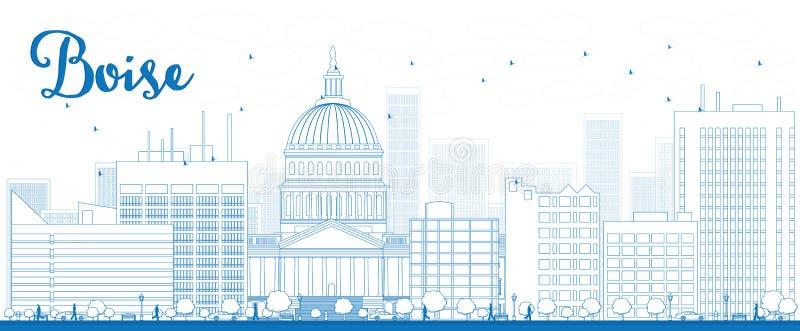 Outline Boise Skyline with Blue Building stock illustration