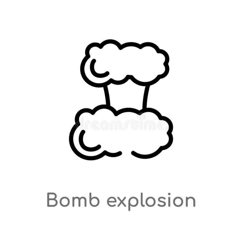 Outline bomb explosion vector icon. isolated black simple line element illustration from meteorology concept. editable vector. Stroke bomb explosion icon on vector illustration