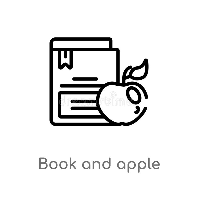 Outline book and apple vector icon. isolated black simple line element illustration from education concept. editable vector stroke. Book and apple icon on white stock illustration