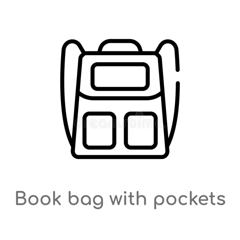 Outline book bag with pockets vector icon. isolated black simple line element illustration from airport terminal concept. editable. Vector stroke book bag with royalty free illustration