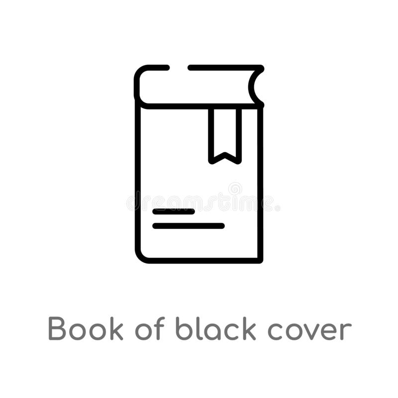 Outline book of black cover vector icon. isolated black simple line element illustration from education concept. editable vector. Stroke book of black cover vector illustration