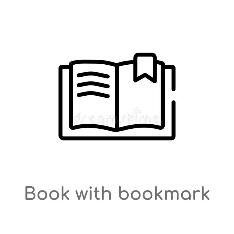 Outline book with bookmark vector icon. isolated black simple line element illustration from education concept. editable vector. Stroke book with bookmark icon vector illustration