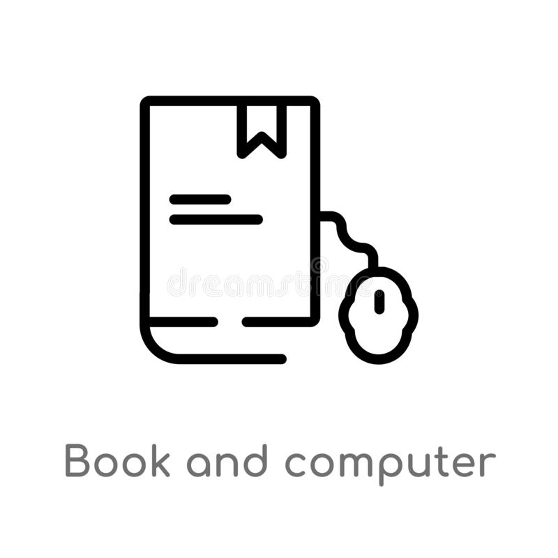 Outline book and computer mouse vector icon. isolated black simple line element illustration from computer concept. editable. Vector stroke book and computer vector illustration