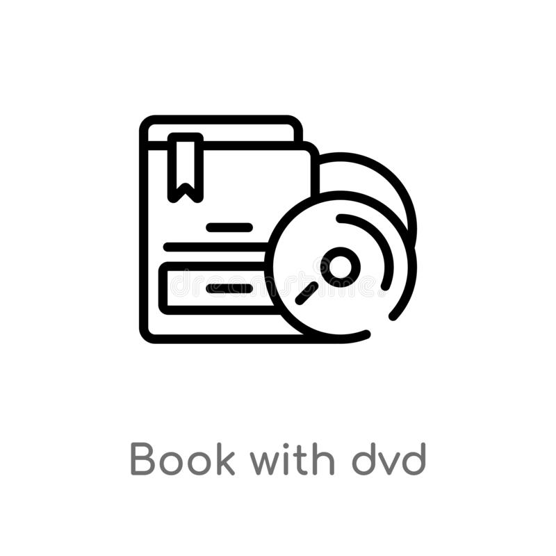 Outline book with dvd vector icon. isolated black simple line element illustration from commerce concept. editable vector stroke. Book with dvd icon on white royalty free illustration