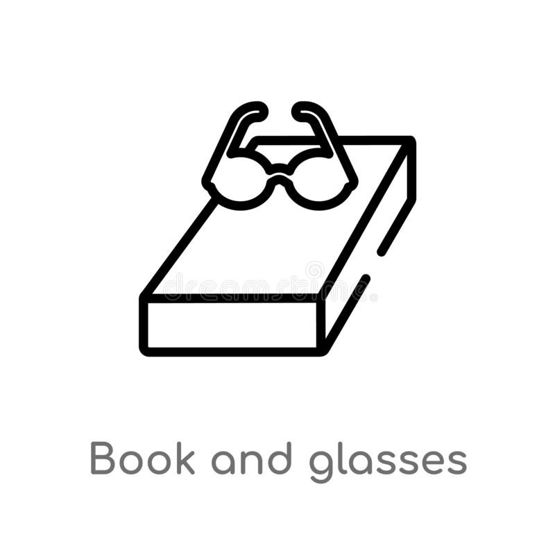 Outline book and glasses vector icon. isolated black simple line element illustration from education concept. editable vector. Stroke book and glasses icon on royalty free illustration