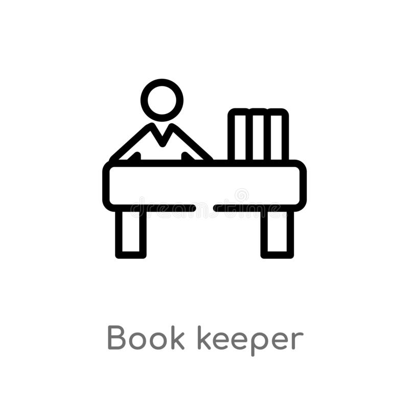 Outline book keeper vector icon. isolated black simple line element illustration from people concept. editable vector stroke book. Keeper icon on white royalty free illustration