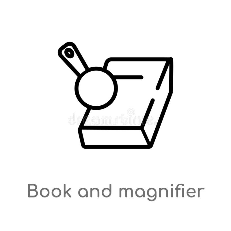 Outline book and magnifier vector icon. isolated black simple line element illustration from education concept. editable vector. Stroke book and magnifier icon royalty free illustration