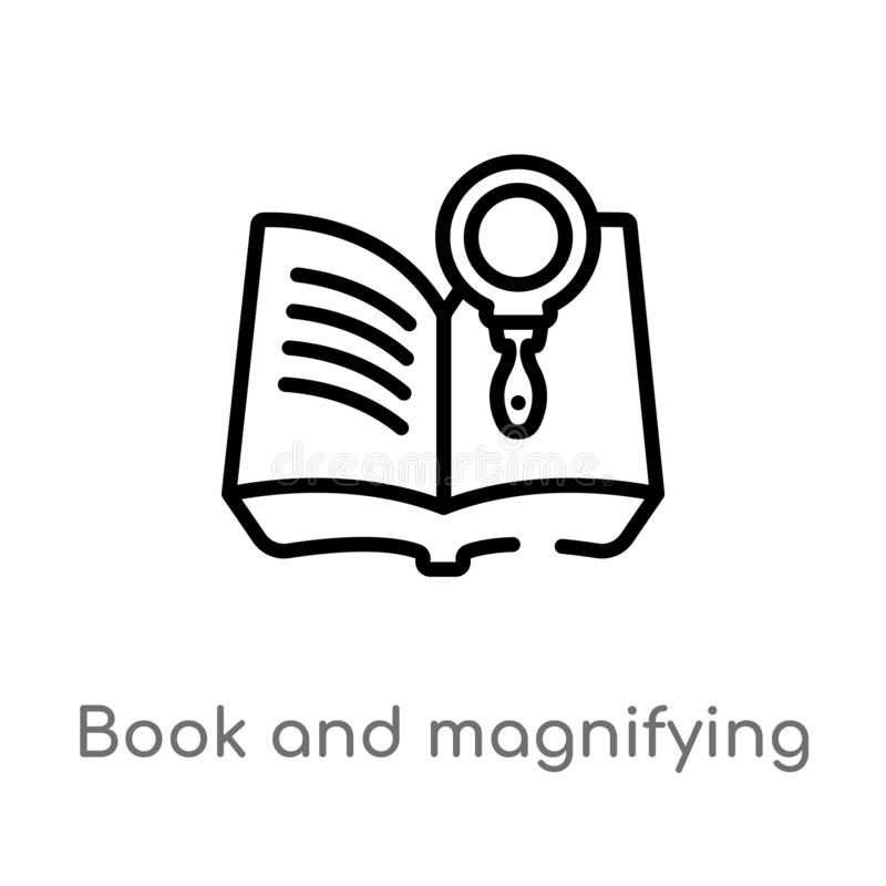 Outline book and magnifying vector icon. isolated black simple line element illustration from education concept. editable vector. Stroke book and magnifying royalty free illustration