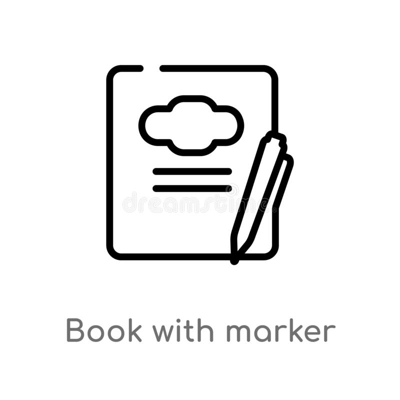 Outline book with marker vector icon. isolated black simple line element illustration from education concept. editable vector. Stroke book with marker icon on stock illustration