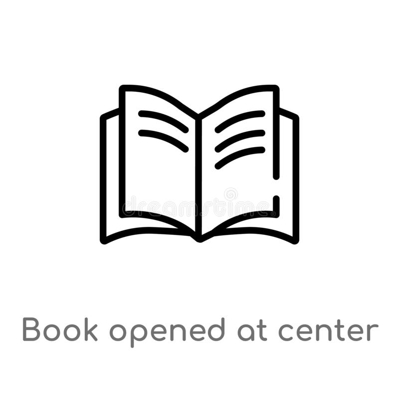 Outline book opened at center vector icon. isolated black simple line element illustration from user interface concept. editable. Vector stroke book opened at royalty free illustration