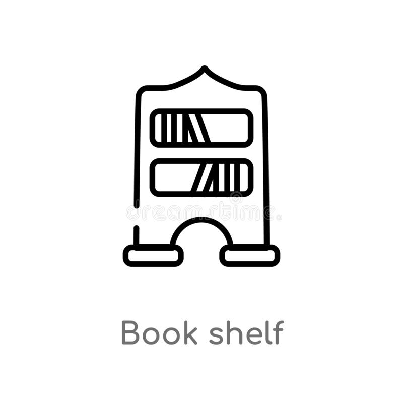 Outline book shelf vector icon. isolated black simple line element illustration from education concept. editable vector stroke. Book shelf icon on white stock illustration