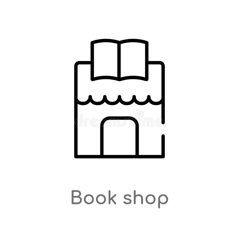 outline book shop vector icon. isolated black simple line element illustration from education concept. editable vector stroke book royalty free illustration