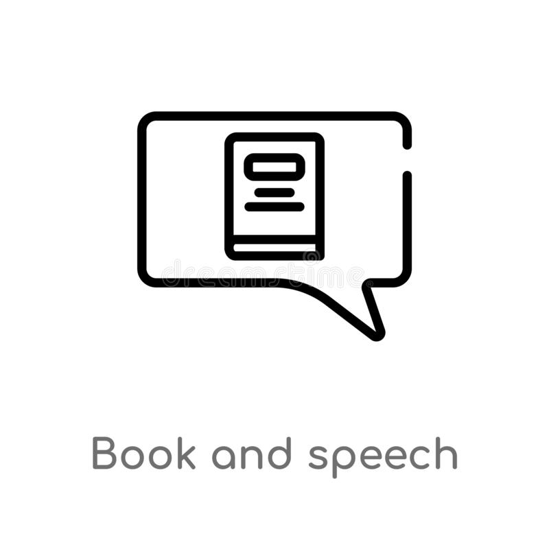 outline book and speech bubble vector icon. isolated black simple line element illustration from web concept. editable vector vector illustration