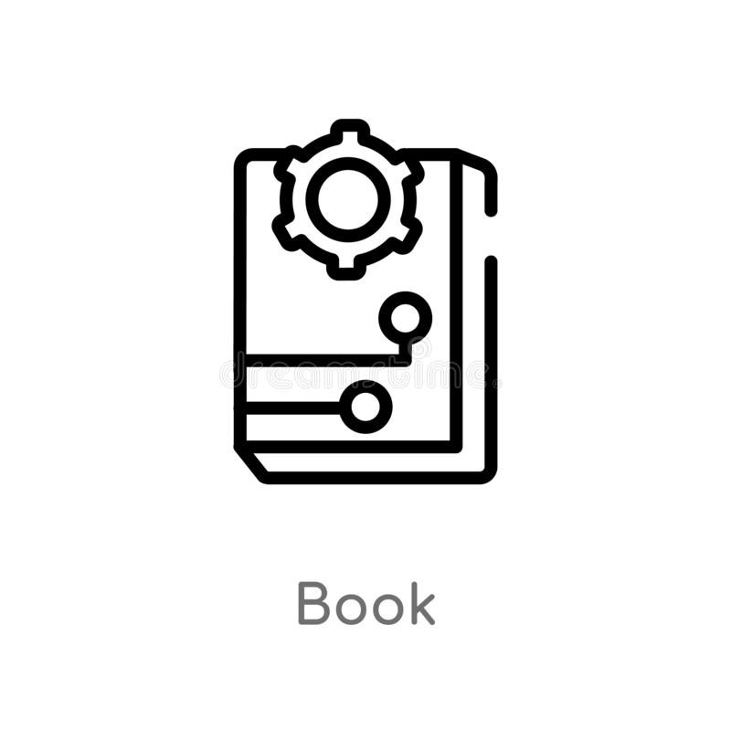 Outline book vector icon. isolated black simple line element illustration from artificial intelligence concept. editable vector. Stroke book icon on white stock illustration