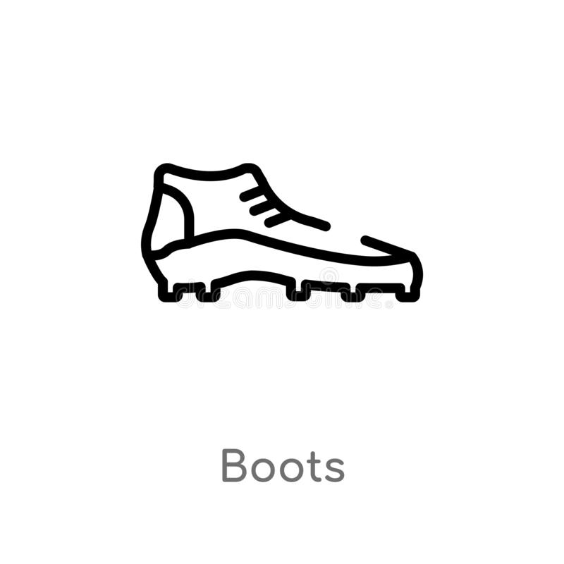 outline boots vector icon. isolated black simple line element illustration from football concept. editable vector stroke boots royalty free illustration