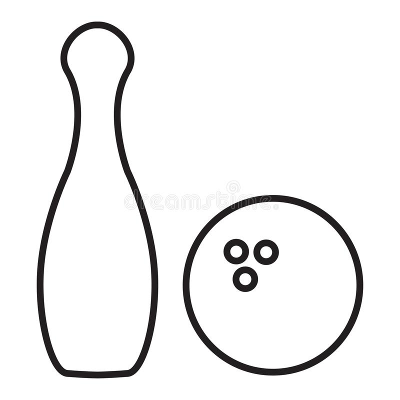 Outline bowling pins and bowling ball stock illustration