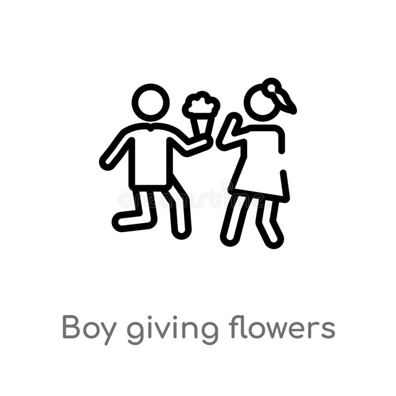 Outline boy giving flowers to his girlfriend vector icon. isolated black simple line element illustration from people concept. Editable vector stroke boy royalty free illustration