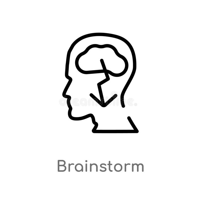 Outline brainstorm vector icon. isolated black simple line element illustration from brain process concept. editable vector stroke. Brainstorm icon on white stock illustration