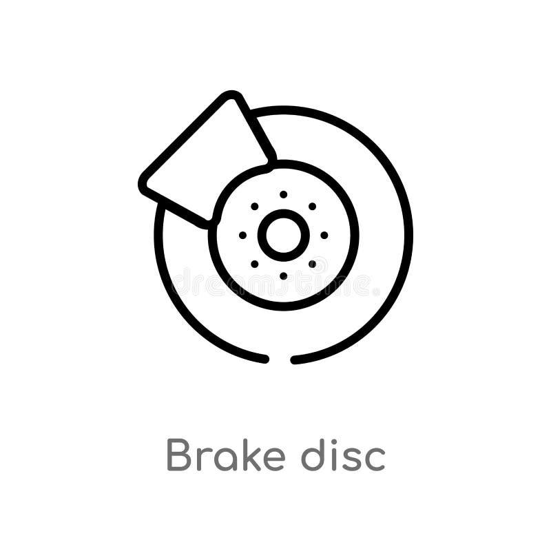 Outline brake disc vector icon. isolated black simple line element illustration from transportation concept. editable vector. Stroke brake disc icon on white royalty free illustration