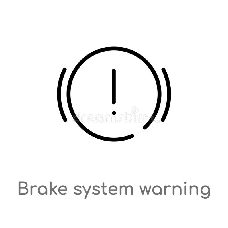 Outline brake system warning vector icon. isolated black simple line element illustration from shapes concept. editable vector. Stroke brake system warning icon stock illustration
