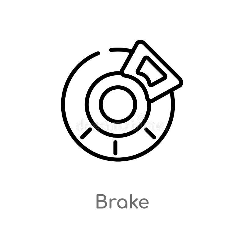 Outline brake vector icon. isolated black simple line element illustration from transportation concept. editable vector stroke. Brake icon on white background stock illustration