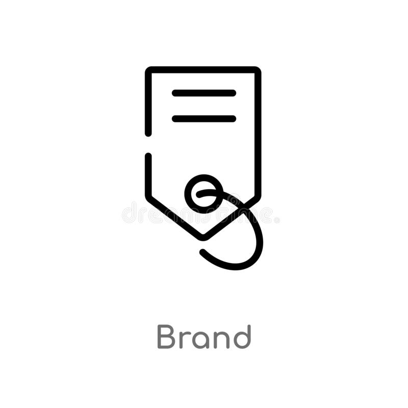 Outline brand vector icon. isolated black simple line element illustration from fashion and commerce concept. editable vector. Stroke brand icon on white royalty free illustration