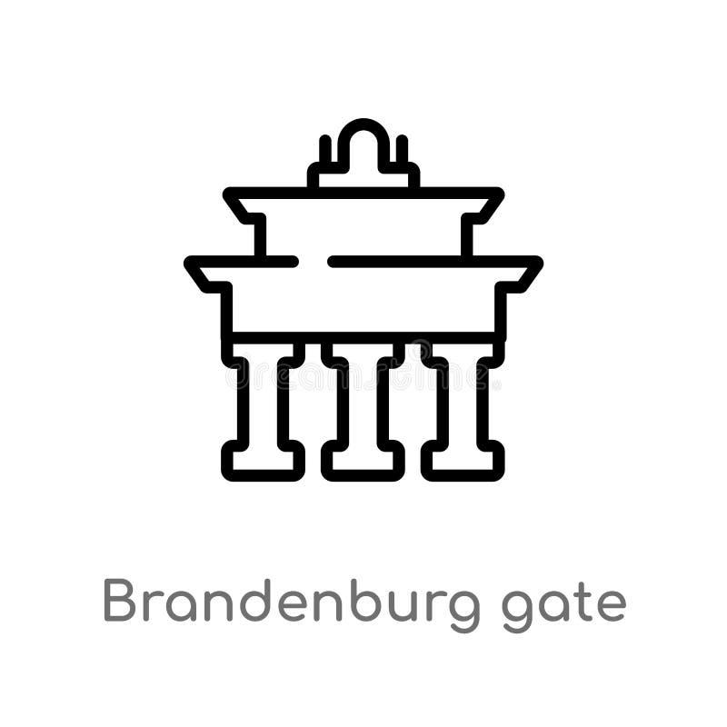 outline brandenburg gate vector icon. isolated black simple line element illustration from buildings concept. editable vector vector illustration