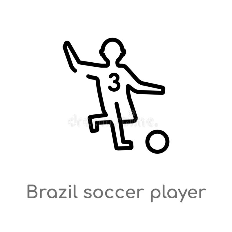 Outline brazil soccer player vector icon. isolated black simple line element illustration from culture concept. editable vector. Stroke brazil soccer player royalty free illustration