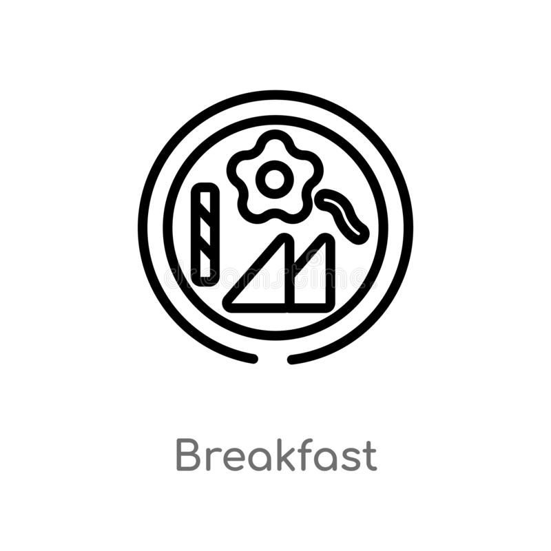 Outline breakfast vector icon. isolated black simple line element illustration from accommodation concept. editable vector stroke. Breakfast icon on white vector illustration