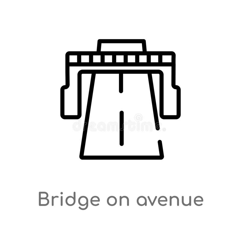 Outline bridge on avenue perspective vector icon. isolated black simple line element illustration from general concept. editable. Vector stroke bridge on avenue stock illustration